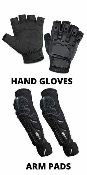 Gloves and arm pads for paintballing